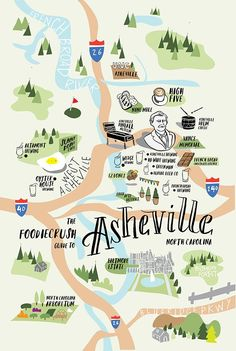 Food Bloggers' Guide of Where to Eat in Asheville, NC If you're visiting Asheville for the first time, this fun infographic shows you great places to start. Try High Five Coffee, French Broad Chocolate Lounge, Nine Mile, Sunny Point Cafe, and more!  via @foodiecrush