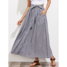 SheIn(sheinside) Self Tie Hidden Pocket Detail Button Up Pinstripe... (€20) ❤ liked on Polyvore featuring skirts, grey, long summer skirts, gray maxi skirt, striped maxi skirts, long button down skirt and long high waisted maxi skirts
