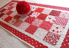 Valentine Table Runner Quilted - Red and White - Hearts, Cupids, Polka Dots. $38.00, via Etsy.
