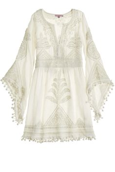 Introducing Mariée, Calypso St. Barth's bridal collection for the bohemian bride. Hand embroidered mini boho wedding dress.
