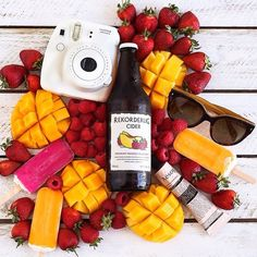 We love this gorgeous photo from @meohmygirl which perfectly encapsulates the Rekorderlig summer experience! ☀️ #Rekorderlig #summer #RekorderligSeasons #mango #raspberry #flavours #style #fashion #MBFW #fruits #seasons #cool #vibes #popsicles #sunnies #polaroid #camera