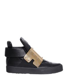 GIUSEPPE ZANOTTI Leather Sneakers With Plate. #giuseppezanotti #shoes #sneakers