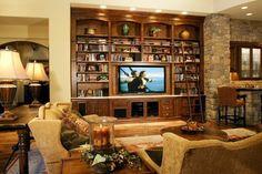 Family Room Library Room | Media Library Wall - traditional - family room - phoenix - by Stone ...