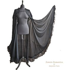 Cape stretchvoile with lace, black, Halloween, Victorian, Somnia Romantica by Marjolein Turin and other apparel, accessories and trends. Browse and shop 8 relat...