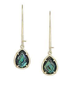 Kendra Scott Signature Dee Dangle Earrings in Abalone & Gold. Style: Drop, Dangle; Metal: 14k Gold Plated over Brass. Stone/Color:  Abalone Shell; Some stones are more purple and blue and others more green and yellow; There is varying amount of striations; The 2 stones will not mirror one another; Each stone is unique. Closure Type:  Elongated Ear Wire. Measurements: Approximate 2 inches long by .50 inch wide. Comes in a gift box with its Kendra Scott signature medallion fabric bag.