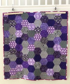 purple giant hexagon quilt- I wish I had something like this...back