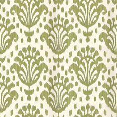 Thai Ikat (839-T-4951) - Thibaut Wallpapers - A stylised thai ikat design, in green and cream - Vinyl coated. This is an American wallcovering and will take between 7-10 working days for delivery. Wide width. Please request sample for true colour match.