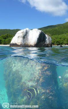 The rock off Little Lameshur Beach. More info? Visit http://stjohn-beachguide.com/lameshur-bay/