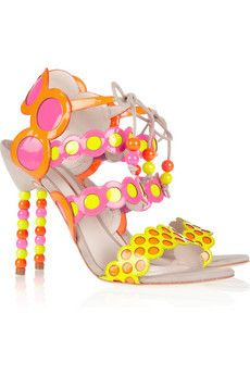 Yayoi patent leather and suede sandals by Sophia Webster