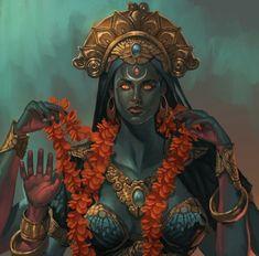 Indian Goddess Kali, Divine Goddess, Isis Goddess, Black Goddess, Goddess Art, Durga Goddess, Indian Gods, Indian Art, Ishtar Goddess