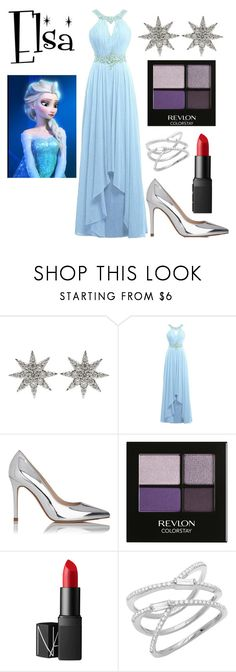 """Elsa look"" by thatphangirl ❤ liked on Polyvore featuring Bee Goddess, Disney, L.K.Bennett, Revlon, NARS Cosmetics, disney, frozen and elsa"