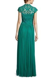 TADASHI SHOJI Lace Cap Sleeved Gown | ideel