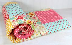 Baby Blanket  Girl Blanket  Yellow Red Pink by theredpistachio, $55.00