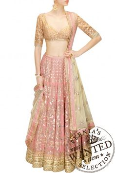 Buy Blush Pink Gota Patti Embroidered Lehenga Set By Anita Dongre online in India at best price. Featuring a blush pink georgette foil lehenga embellished with traditional gota patti embroidery in Lehenga Designs, Indian Attire, Indian Ethnic Wear, Indian Wedding Outfits, Indian Outfits, Wedding Dresses, Pakistani Dresses, Indian Dresses, Estilo India
