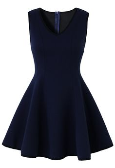 V-neck Navy Dress