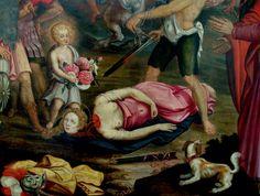 Detalle del martirio de Santa Dorotea, obra de Joost van Baren, 1593. Iglesia de San Pedro de Leuven, Bélgica.