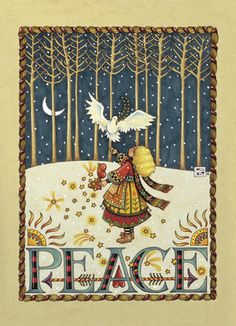 """Forest Dove Peace - Mary Engelbreit - Christmas Card. This gorgeous illustration, featuring a dove perched upon a young girl's hand amidst the stars and trees, is sure to convey the peaceful spirit of the season. Simply add a heartfelt message and spread the holiday spirit. 5"""" x 7"""" Folded Card. Price: $2.99"""