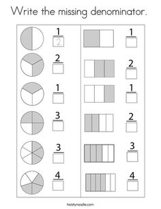 Write the missing denominator Coloring Page - Twisty Noodle Math Coloring Worksheets, 2nd Grade Math Worksheets, Fractions Worksheets, School Worksheets, Math Fractions, 1st Grade Math, Math Resources, Math Activities, Math Sheets