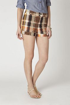 Puckered Plaid Shorts #anthropologie #ChenalShopping