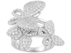Bella Luce (R) 2.00ctw Round Shape, Rhodium Plated Sterling Silver Ring
