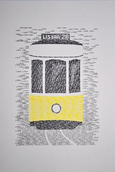 Lissabon typografische Art Print/handgeschreven van Yantree op Etsy