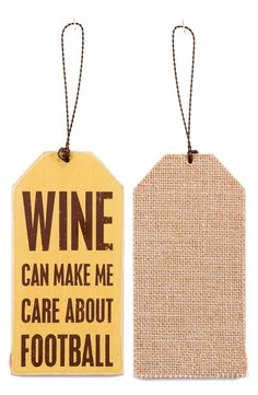 PRIMITIVES BY KATHY 'Wine Can Make Me Care About Football' Wine Bottle Tag