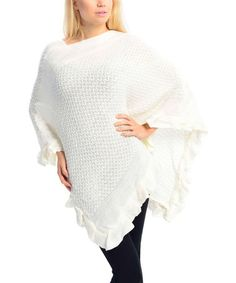 This White Ruffle Poncho by SUE & KRIS is perfect! #zulilyfinds