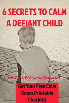 Here are six secrets to calming down a defiant child that's having a temper tantrum. Read it and get your free calm down checklist printable.