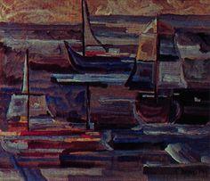 Barcos 1947 | Lothar Charoux óleo sobre tela, c.i.d. 58.00 x 48.00 cm