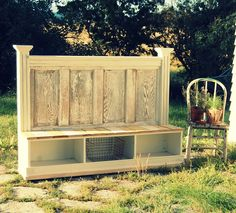 pinned from http://twigdecor.blogspot.com/2010/09/bench-from-repurposed-door-headboard.html