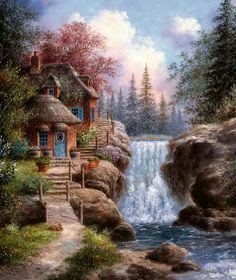 'Waterfall House' ~ Dennis Patrick Lewan (a trout jumping in the brook, a deer peeking out from the other side & a kitty basking in the sun on the doorstep.I want to live here) Beautiful Paintings, Beautiful Landscapes, Landscape Art, Landscape Paintings, Belle Image Nature, Thomas Kinkade Art, Kinkade Paintings, Cottage Art, Pretty Pictures