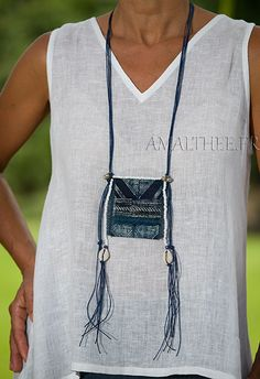 AMALTHEE CREATIONS-:-Blue necklace :exotic piece with a true indigo blue Batik from traditional skirts worn by Dao Fiber Art Jewelry, Textile Jewelry, Fabric Jewelry, Boho Jewelry, Jewelry Crafts, Jewelry Art, Beaded Jewelry, Jewelery, Jewelry Design