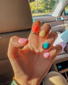 Summer Acrylic Nails, Best Acrylic Nails, Summer Nails, Colourful Acrylic Nails, Colorful Nail Art, Pastel Nails, Spring Nails, Minimalist Nails, Cute Nails