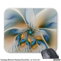 Soaring, Abstract Fantasy Fractal Art With Blue Mouse Pad