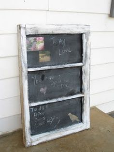 outdoor chalkboard - upcycle old window (maybe we don't throw out that old glass door??)