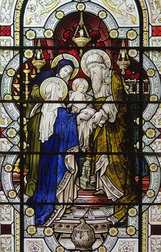 This day did the Blessed Virgin Mary present the Child Jesus in the temple; and Simeon, filled with the Holy Ghost, took Him up in his arms, and blessed God for ever and ever. Stained Glass Church, Stained Glass Art, Stained Glass Windows, Catholic Art, Religious Art, Jesus In The Temple, Tiffany Stained Glass, Church Windows, Holy Rosary