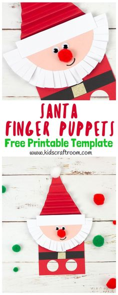 Cute Santa Finger Puppet With Printable Template Santa Crafts, Noel Christmas, Christmas Crafts For Kids, Christmas Activities, Craft Activities, Simple Christmas, Christmas Themes, Holiday Crafts, Crafts For Kids To Make