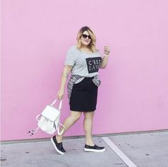 A Pencil Skirt, T-Shirt, Top Around the Waist, and Sneakers