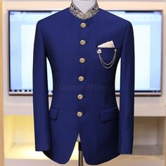 Customized Prince Coat in tropical four season fabric with contrast collar and buttons, Exclusively available at Uomo Attire. ☎️ For & inbox OR Call/WhatsApp on OR Nigerian Men Fashion, Indian Men Fashion, Mens Fashion Suits, Mens Suits, Prince Suit, Mens Suit Accessories, Designer Suits For Men, Style Fashion, Men's Apparel