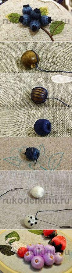 Как сделать объемные ягоды. Идея для вышивки. Мини мастер-класс.
