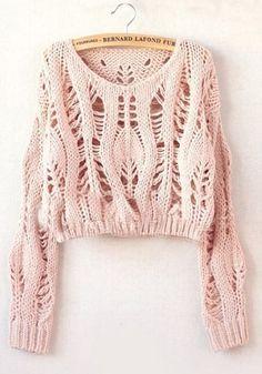 Green Plain Hollow-out Long Sleeve Wool Blend Sweater | Wool ...