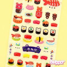 Cute Bear Sushi Balloon Stickers