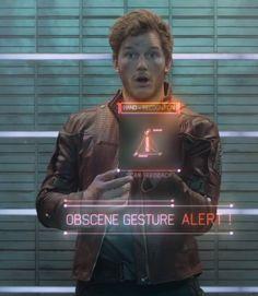 guardians of the galaxy - obscene gesture alert