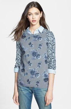 Equipment 'Sloane' Print Cashmere Sweater available at #Nordstrom  Can't justify at this price, but love the color and style...Gray, blue, cashmere...what more could I want?