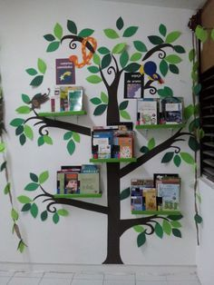 Biblioteca de jungla libros selva librero bookshelf jungle animals animals hojas leaves shelves kids infantil niños