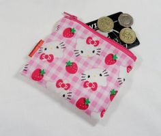Pink Gingham Kitty Fabric Coin Purse - Free P £5.00