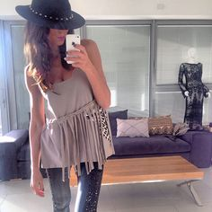 Fringe Top Boho Bohemian Women Top Mocca Color French