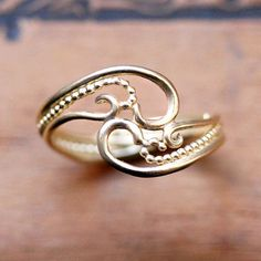 14k yellow gold ring henna ring unique 14k gold by metalicious