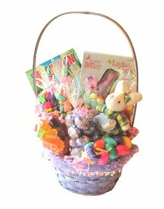 Easter candy gift basket pques emballage cadeaux de bonbons easter sweet basket filled with chocolate candy and activity book negle Gallery