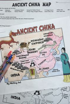 Ancient China Map Activity - Use this 7 page resource with your or grade classroom or homeschool students. Your students will better understand Ancient China with the blank map, map key, coloring page, and more. Great for yo History Classroom, History Teachers, Teaching History, Geography Of China, World Geography, Geography Lessons, Ancient World History, World History Lessons, Map Worksheets
